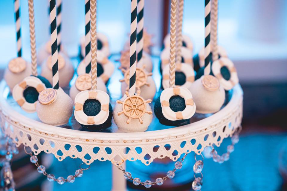 Nautical theme baptism cake pops
