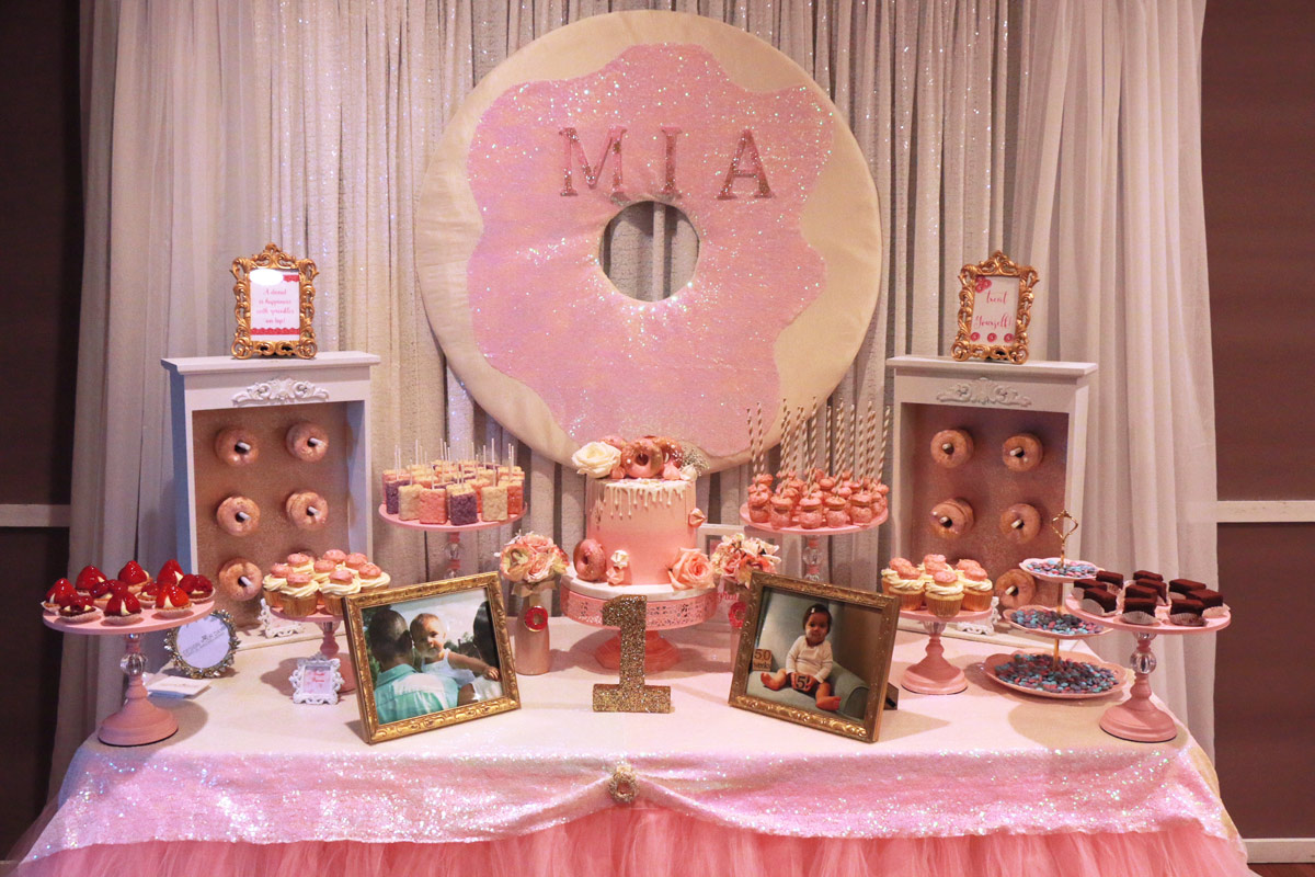 Donut birthday party dessert table